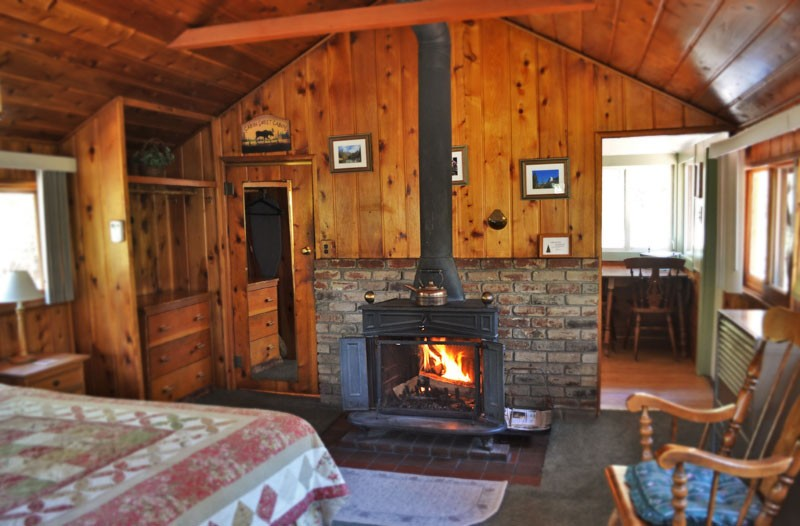 Cabin Interior Bedroom Fireplace