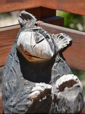wooden bear statue decor