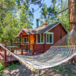 Hammock with cabin in background